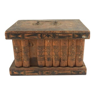 Antique Folk Art Wood Box in Shape of Books For Sale