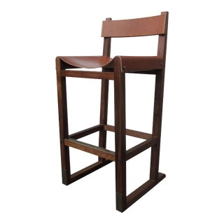 Piero Stool in Argentine Rosewood and Leather-Wrapped Back and Slung Seat For Sale