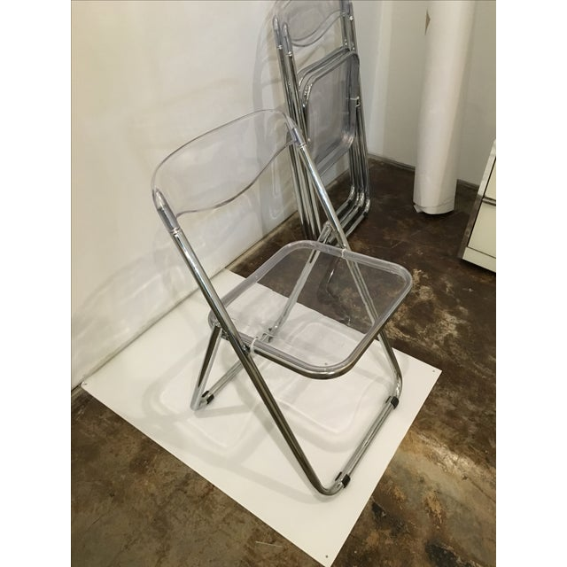 Mid Century Modern set of Six Lucite and Metal Folding Chairs - Image 7 of 7