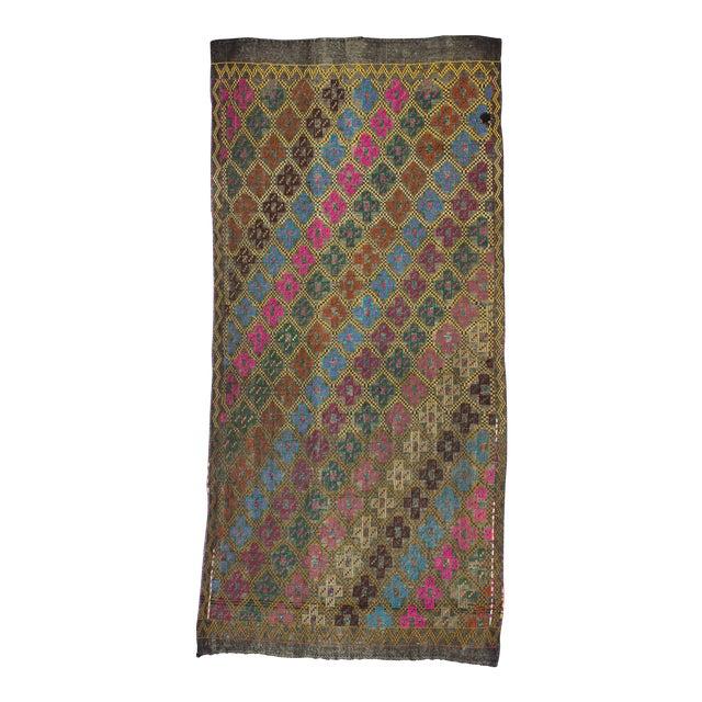 Vintage Turkish Embroidered Kilim Rug- 4′10″ × 10′2″ - Image 1 of 6