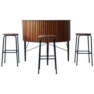 1960 Danish Bar and Stools For Sale