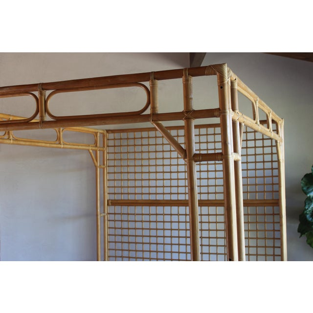Vintage Queen Rattan and Bamboo Chippendale Chinoiserie Canopy Bed - Image 6 of 11