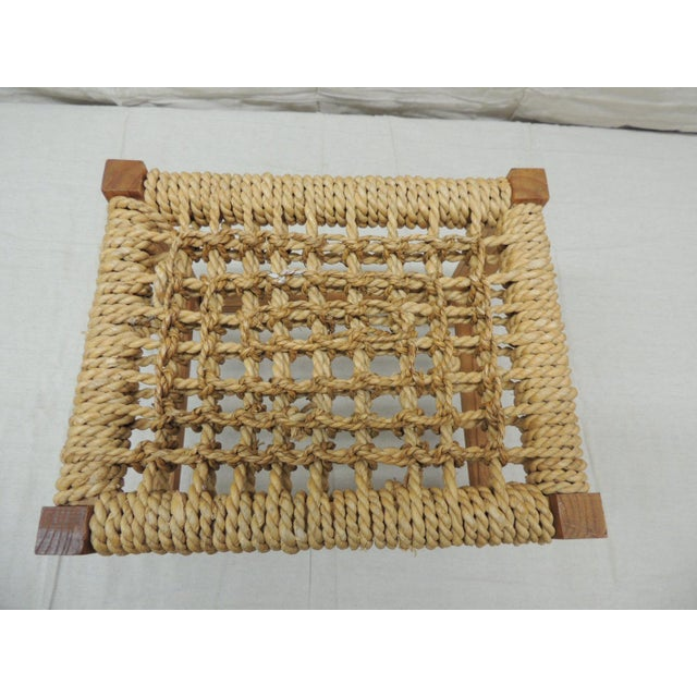 Vintage Rectangular Shaker-Style Foot Stool With Seagrass Woven Seat For Sale In Miami - Image 6 of 7