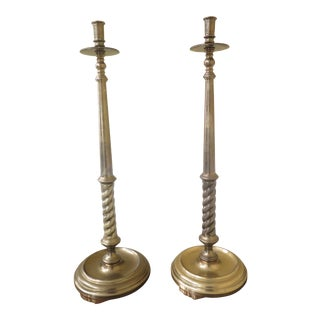 Large Solid Brass Barley Twist Candlesticks - a Pair For Sale