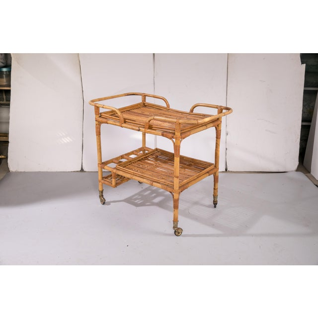 1950s Mid-Century Rattan Bar Cart For Sale - Image 5 of 9