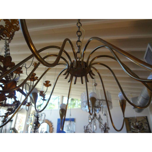 Italian Mid Century Modern Brass Chandelier, Stilnovo Style For Sale In Houston - Image 6 of 7