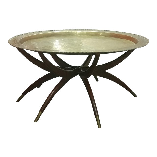 Mid-Century Brass Top Moroccan Style Coffee Table For Sale