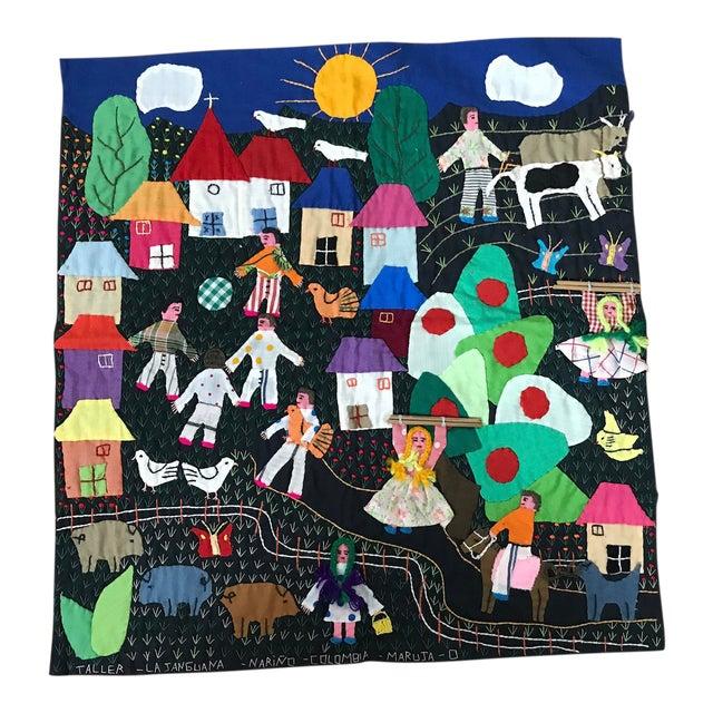 Handmade Columbian Folk Art Embroidery - Image 1 of 6