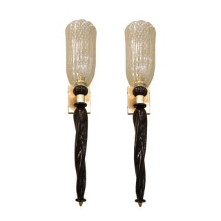 barovier e Toso style mid century modern black/gold pair of torchiere sconces