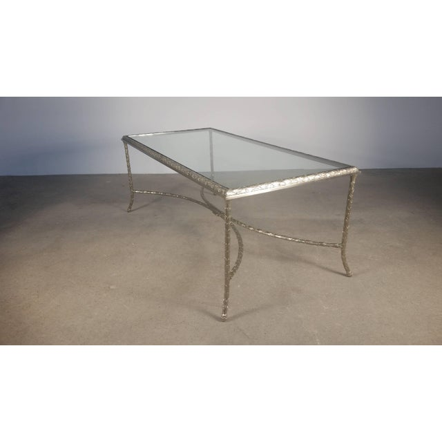 Large bronze and glass coffee table by Maison Baguès, French, 1940s, with seldom seen silvered finish.