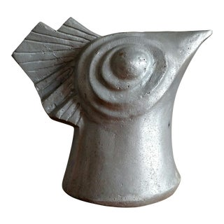 20th Century Folk Art Cast Aluminum Rooster Head Bust Sculpture For Sale