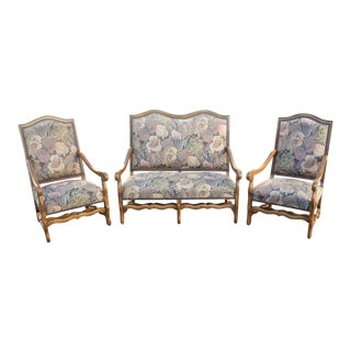 Solid Walnut Louis XIII Style Os De Mouton 2 Armchairs 1 settees Circa 1900s - Set of 3