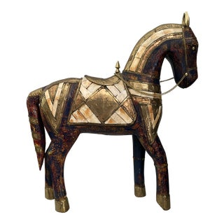 Vintage Mid-Century Bone Inlay & Brass Horse Statue For Sale