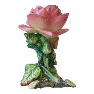 1890 Delphin Massier Majolica Rose Vase For Sale