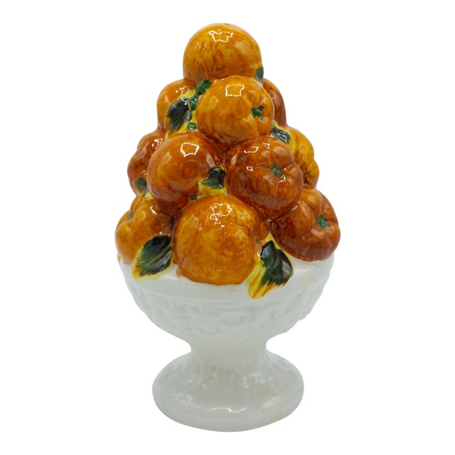 Mid 20th Century Italian Majolica Ceramic Fruit Topiary For Sale