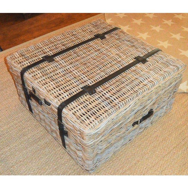 Boho Chic Boho Chic Woven Rattan Coffee Table Trunk For Sale - Image 3 of 13