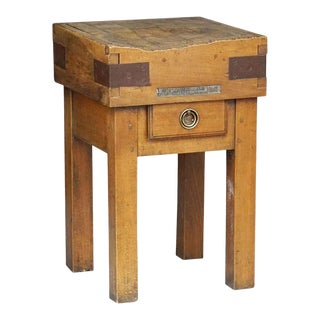 Butcher's Chopping Block Table on Stand For Sale