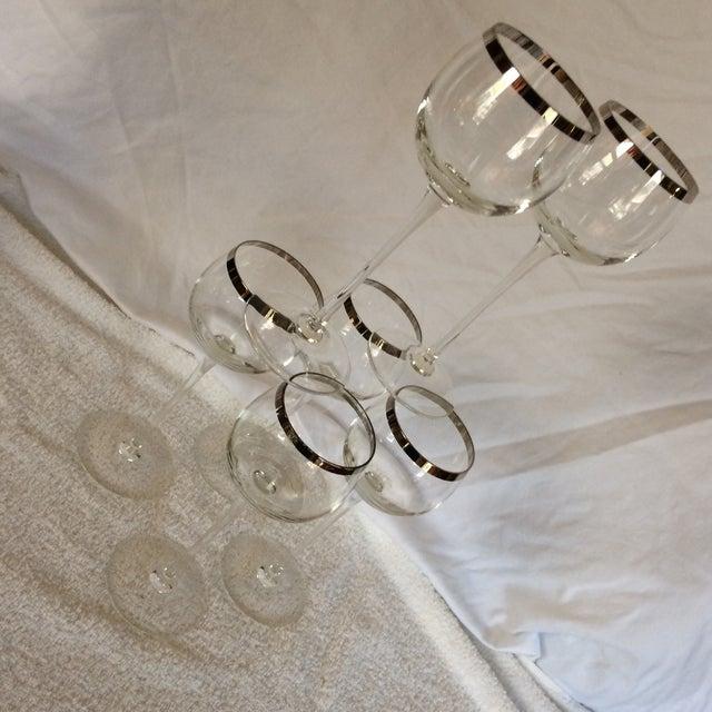 Tall Vintage Crystal Platinum Rim Wine Glasses - Set of 6 For Sale - Image 12 of 13