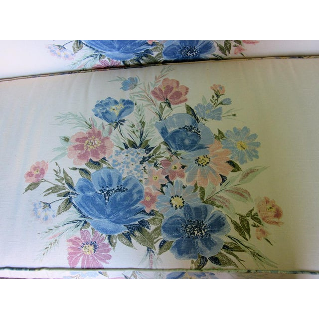 Sherrill Furniture Small Sofa Custom Upholstered in Designer Floral Pattern For Sale In Raleigh - Image 6 of 8