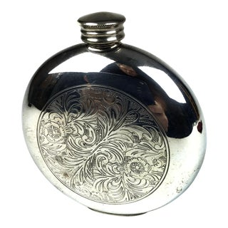 Vintage 1980s Sheffield English Pewter Round Flask For Sale