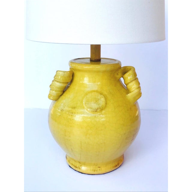 Ceramic Pair of Elegant Chinese Pottery Lamps in Antique Yellow Glaze For Sale - Image 7 of 12