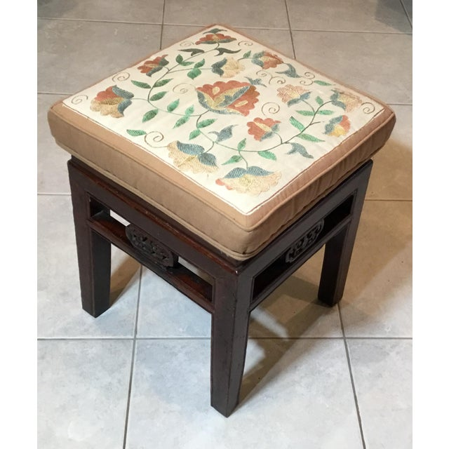 Antique Upholstered Chinese Foot Stool For Sale - Image 12 of 13