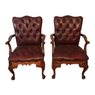 Chippendale Tufted Leather Burgundy Arm Chairs - a Pair