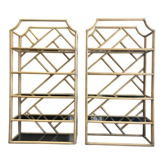 1970 Boho Chic Bamboo Bookshelves - a Pair For Sale