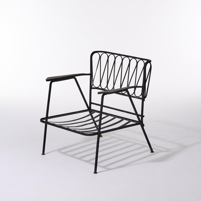Mid-Century Modern Vintage Mid Century Maurizio Tempestini for Salterini Black Wrought Iron Ribbon Lounge Chairs- a Pair For Sale - Image 3 of 9
