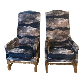 Tall Back Blue Chenille Arm Chairs - a Pair For Sale