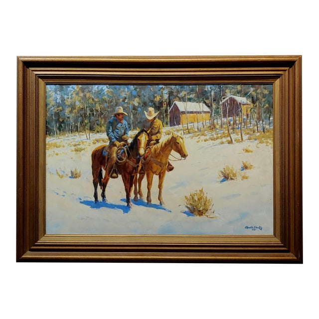 1970s Oil Painting, Cowboys on Horse by Martin Weekly For Sale