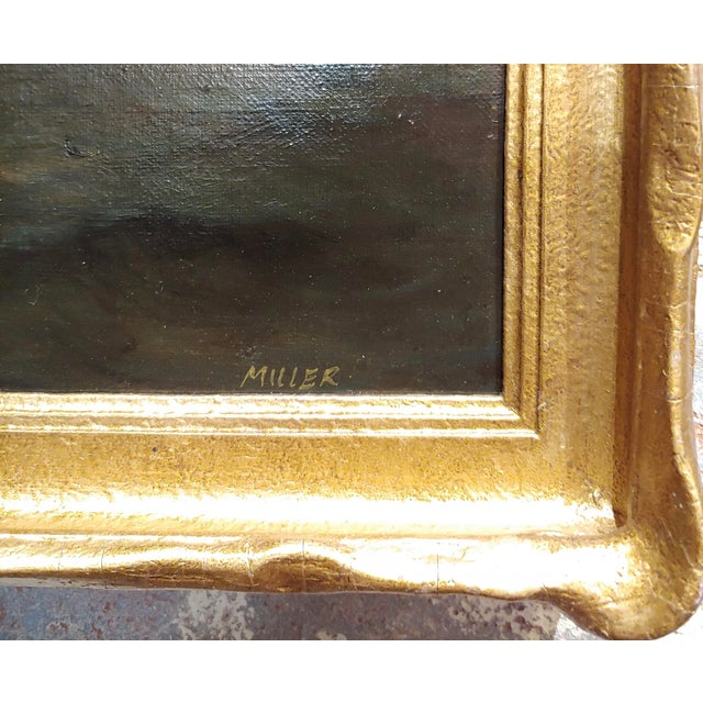 19th Century Ship Sailing by Moonlight -Oil Painting Signed by Miller For Sale In Los Angeles - Image 6 of 9