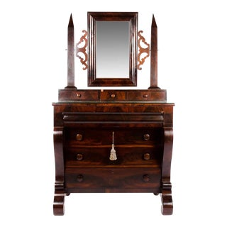 19th Century Empire Burlwood Vanity Dresser For Sale