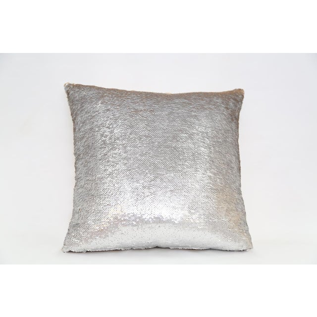 Gold & Silver Sequin Decorative Pillow For Sale - Image 4 of 4
