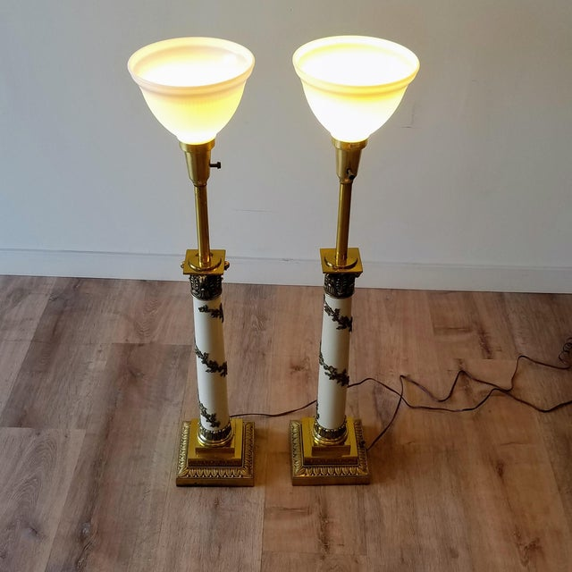 1960s Stiffel Neoclassical Brass and Ivory Table Lamps - a Pair For Sale - Image 10 of 13