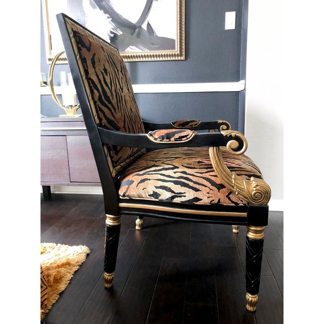 Tiger Pattern Empire Style Chair For Sale - Image 4 of 8