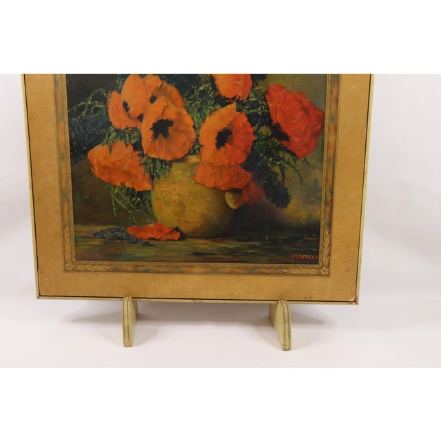 1950s Vintage Bridge Tables & Novelties M Streckenbach Poppy Flowers Table Stand For Sale - Image 4 of 12