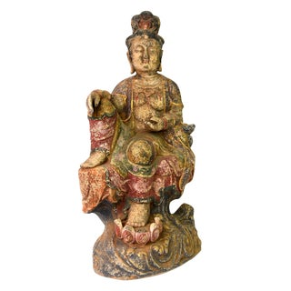 Hand Painted Terracotta Bodhisattva Kwan Yin Sculpture For Sale