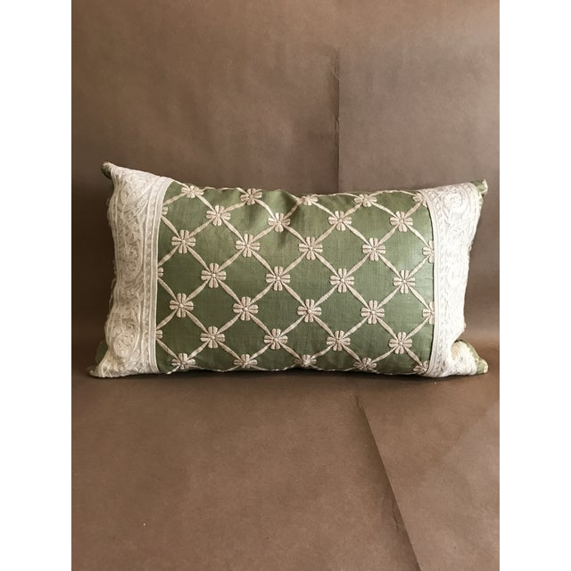 Transitional Green Pillow W/ Natural Embroidered Flower Lattice For Sale - Image 11 of 11