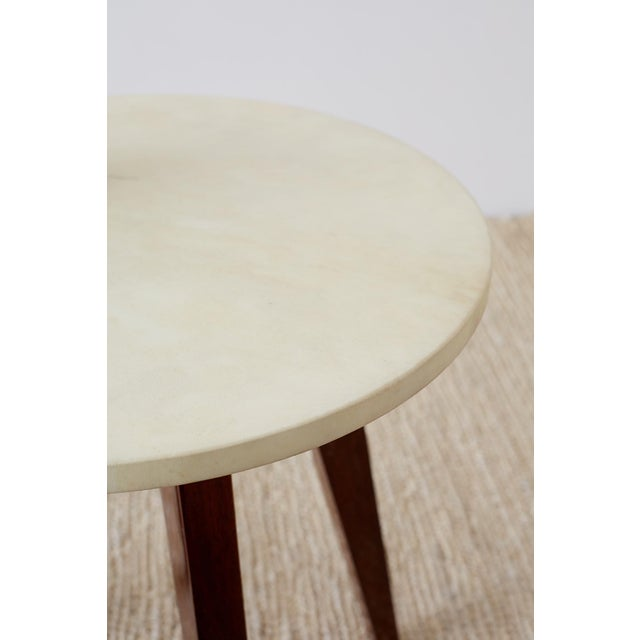 Deco Style Goatskin Vellum Drinks Table With Handle For Sale In San Francisco - Image 6 of 13