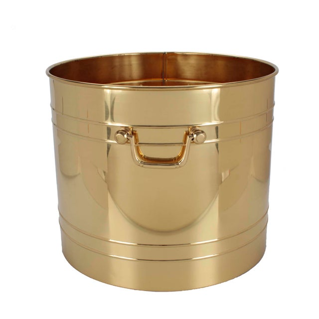 Enormous solid brass planter with handles, suitable for a palm or ficus but large enough to hold rolled towels or...