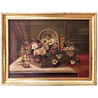 "Oil on Canvas Still Life ""Basket of Pansies"" For Sale"