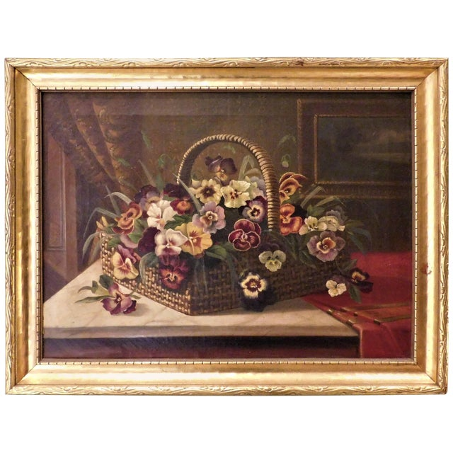 """Oil on Canvas Still Life """"Basket of Pansies"""" For Sale"""