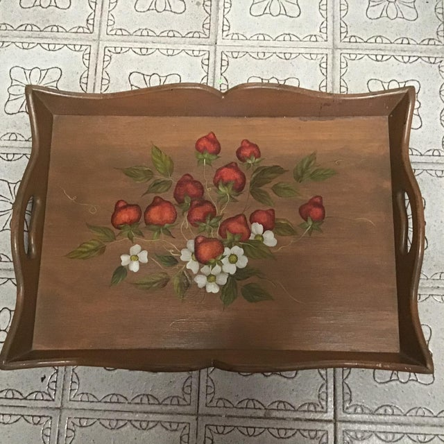 19th Century Large Hand Painted Wood Serving Tray Fruit Painted Serving Tray Decorative Serving Tray For Sale - Image 12 of 12