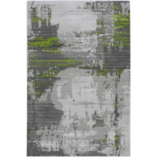ABSTRACT GREEN RUG 5'3''X 7'7''