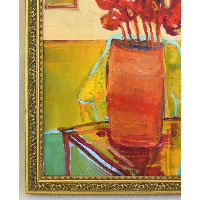 Wood Original Juan Pepe Guzman Floral W/Red Flowers Oil Painting For Sale - Image 7 of 10