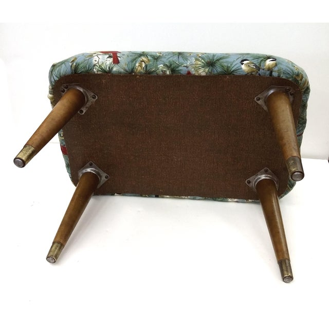 Mid-Century Cardinal Upholstered Stool - Image 10 of 11