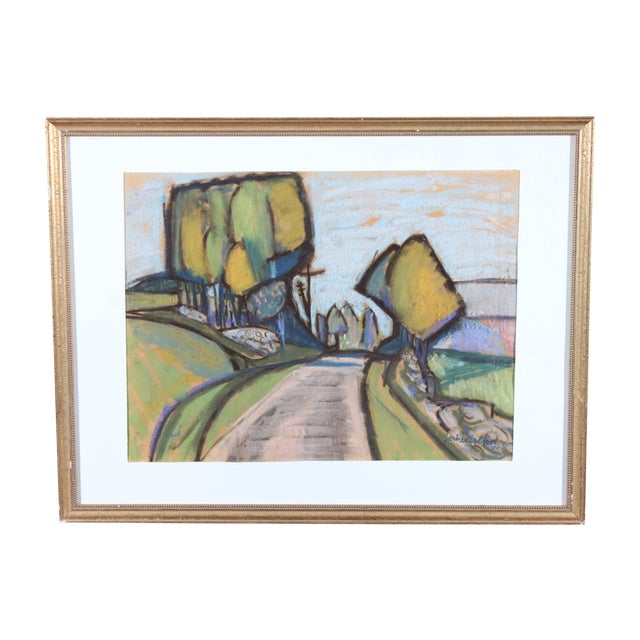 J. Eriksson Road to Summer House Pastel Drawing - Image 1 of 3