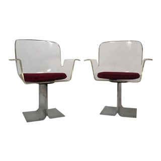 Pair of Pace Lucite & Aluminum Dining or Conference Swivel Chairs by i.m. Rosen For Sale