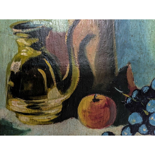 Mid 20th Century Vintage Oil Still Life Painting With Gold Frame For Sale - Image 5 of 7